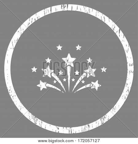 Star Fireworks grainy textured icon for overlay watermark stamps. Rounded flat vector symbol with dirty texture. Circled white ink rubber seal stamp with grunge design on a gray background.