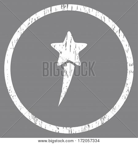 Starting Star grainy textured icon for overlay watermark stamps. Rounded flat vector symbol with dirty texture. Circled white ink rubber seal stamp with grunge design on a gray background.