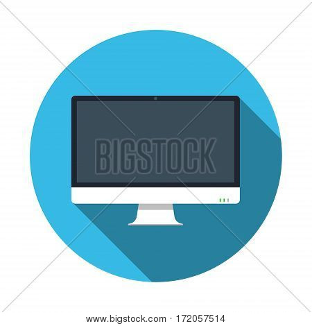 Computer pc monitor web logo icon. Round web button with monitor icon in flat style with shadow on a blue background. Vector isolated illustration.