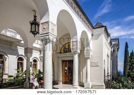 Crimea, Yalta, Russia - APRIL 13, 2017: Orthodox Christian church of Livadia palace