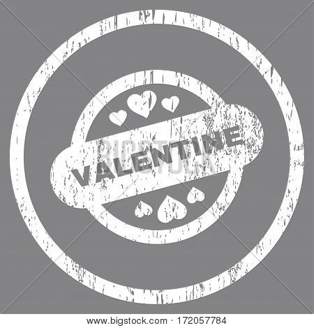 Valentine Stamp Seal grainy textured icon for overlay watermark stamps. Rounded flat vector symbol with dirty texture. Circled white ink rubber seal stamp with grunge design on a gray background.