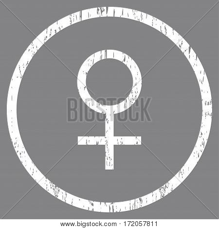 Venus Female Symbol grainy textured icon for overlay watermark stamps. Rounded flat vector symbol with unclean texture. Circled white ink rubber seal stamp with grunge design on a gray background.