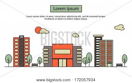Modern street scenery in flat design style. Residential district with building of bank, cinema or market, trees and houses with place for text
