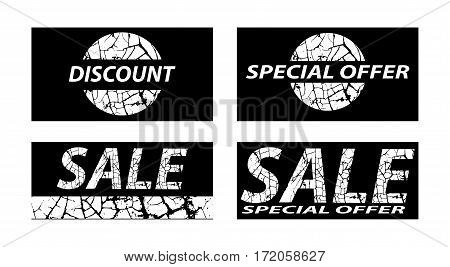 Sale special offers discounts on grunge background. White on black. Vector illustration.