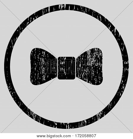Bow Tie grainy textured icon for overlay watermark stamps. Rounded flat vector symbol with scratched texture. Circled black ink rubber seal stamp with grunge design on a light gray background.