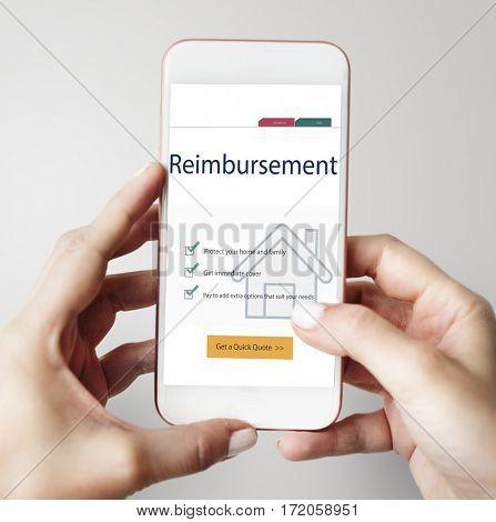 Reimbursement concept on the smart phone screen