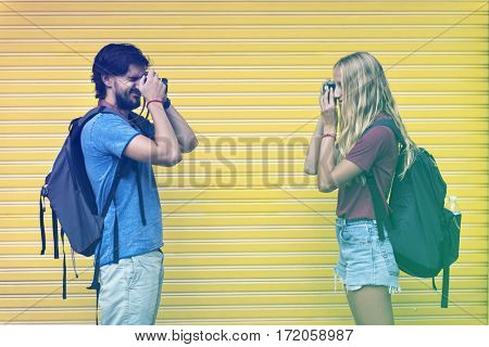 Photo Gradient Style with Couple taking photos of each other