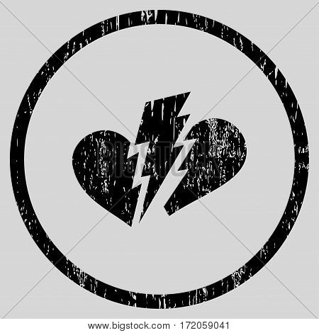 Broken Heart grainy textured icon for overlay watermark stamps. Rounded flat vector symbol with dirty texture. Circled black ink rubber seal stamp with grunge design on a light gray background.