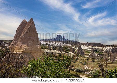 Volcanic rock landscape Cappadocia Turkey. Turkish fortress Uchisar