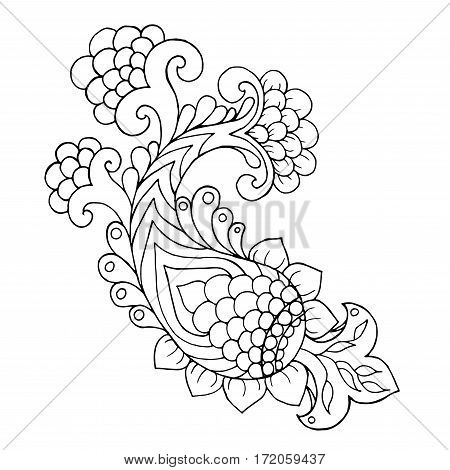 Henna doodle vector element. Ethnic floral zentangle black white illustration. Hand drawn pattern for coloring page book greeting card textile decoration.