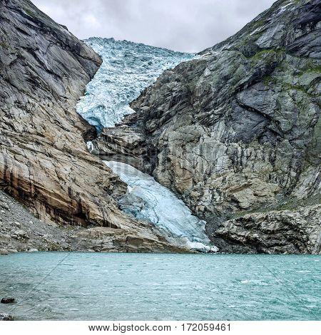 Glacier Briksdal natural landscape in national park, Norway.
