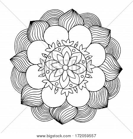 Flowers coloring page. Hand drawn doodle. Floral patterned vector illustration. Sketch for colouring page tattoo poster print t-shirt