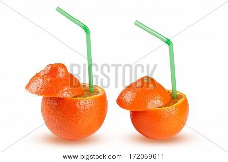 two oranges with green coctail straw isolated on white background.