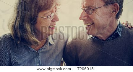 Loving Couple Mature Old Smile