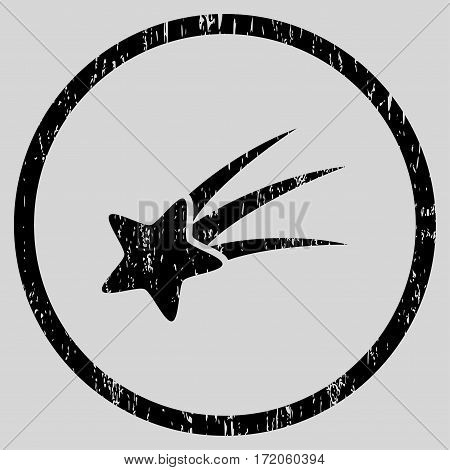 Falling Star grainy textured icon for overlay watermark stamps. Rounded flat vector symbol with scratched texture. Circled black ink rubber seal stamp with grunge design on a light gray background.