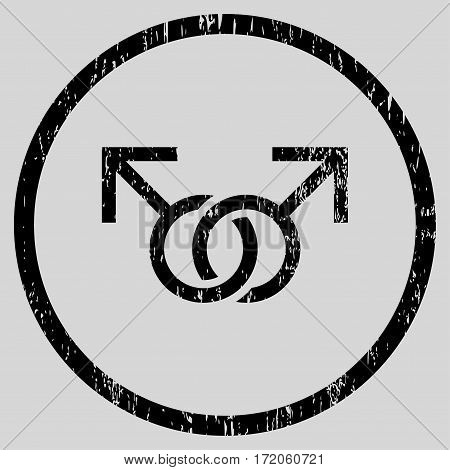 Gay Love Symbol grainy textured icon for overlay watermark stamps. Rounded flat vector symbol with unclean texture. Circled black ink rubber seal stamp with grunge design on a light gray background.