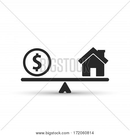 Money and house scales icon. Coin and house balance on scale. Real estate sale. Weights with house and money coin. Vector isolated sign.