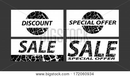 Sale special offers discounts on grunge background. Black on white. Vector illustration.