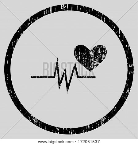 Heart Pulse Signal grainy textured icon for overlay watermark stamps. Rounded flat vector symbol with dust texture. Circled black ink rubber seal stamp with grunge design on a light gray background.