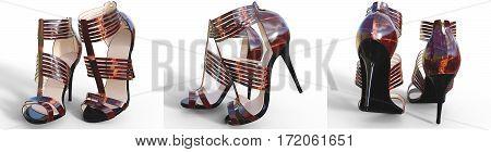 Set beautiful female sandals high heels. Conceptual fashion art. 3D render illustration.