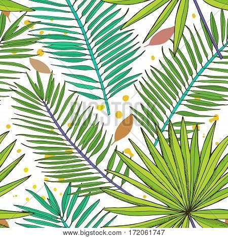 Floral seamless pattern. Collection with tropical leaves in sketch style. Vector illustration.