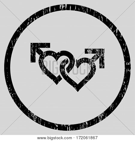 Linked Gay Hearts grainy textured icon for overlay watermark stamps. Rounded flat vector symbol with dirty texture. Circled black ink rubber seal stamp with grunge design on a light gray background.