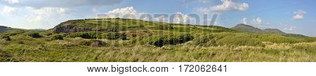Panoramic Welsh landscape on the Llyn Penninsula beside Black Rock Sands beach near the village of Morfa Bychan Gwynedd Pothmadog North Wales. UK.