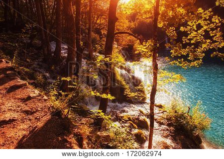 Scenic view around the turquoise water. Plitvice Lakes National Park, Croatia, Europe. Bright autumn scene. Instagram tonic effect.