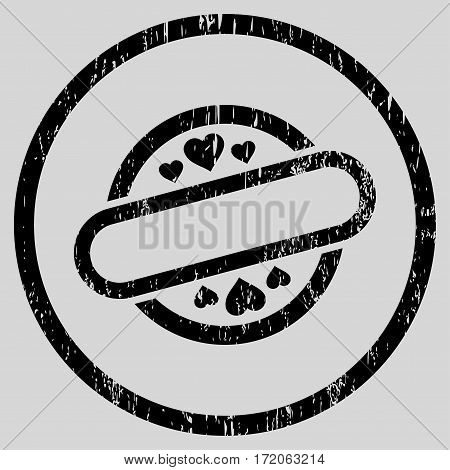 Love Stamp Seal grainy textured icon for overlay watermark stamps. Rounded flat vector symbol with unclean texture. Circled black ink rubber seal stamp with grunge design on a light gray background.