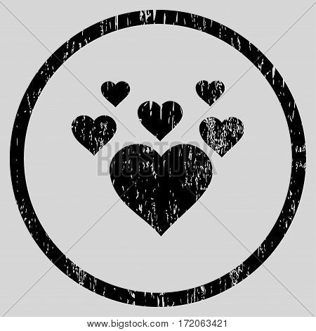Lovely Hearts grainy textured icon for overlay watermark stamps. Rounded flat vector symbol with scratched texture. Circled black ink rubber seal stamp with grunge design on a light gray background.