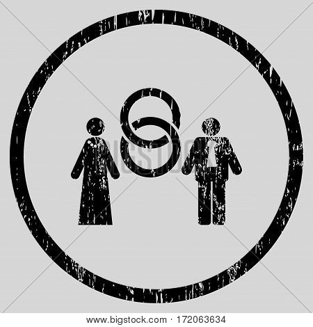 Marriage Persons grainy textured icon for overlay watermark stamps. Rounded flat vector symbol with unclean texture. Circled black ink rubber seal stamp with grunge design on a light gray background.