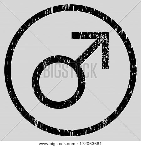 Mars Male Symbol grainy textured icon for overlay watermark stamps. Rounded flat vector symbol with scratched texture.