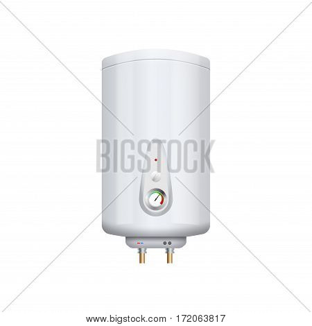 Vector water boiler heater isolated on white. Boiler apparatus. Domestic boil burner device.