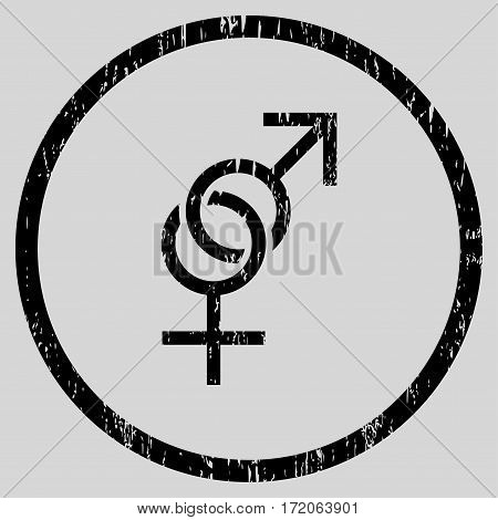 Sex Symbol grainy textured icon for overlay watermark stamps. Rounded flat vector symbol with dirty texture. Circled black ink rubber seal stamp with grunge design on a light gray background.