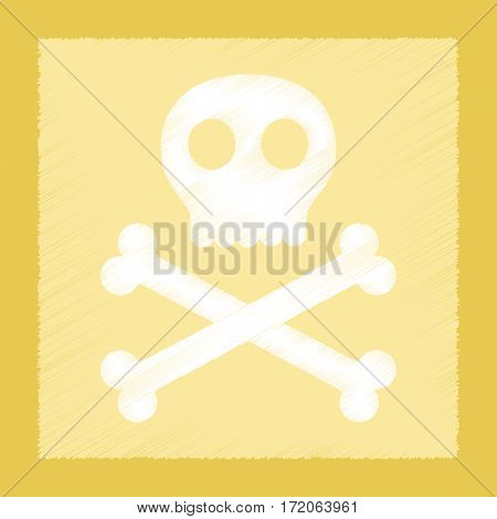 flat shading style icon of halloween skull bones