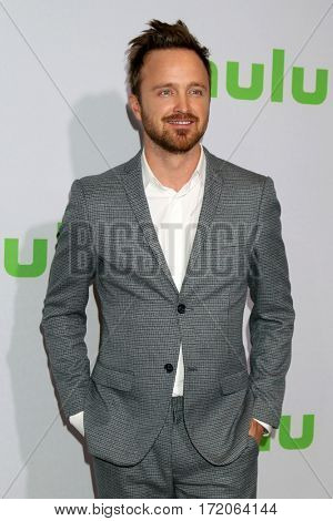PASADENA - JAN 7:  Aaron Paul at the HULU TCA Winter 2017 Photo Call at the Langham Hotel on January 7, 2017 in Pasaden, CA