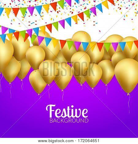 Vector festive card golden balloons and confetti, party invitation. Festive celebration background.