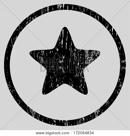 Star grainy textured icon for overlay watermark stamps. Rounded flat vector symbol with dirty texture. Circled black ink rubber seal stamp with grunge design on a light gray background.