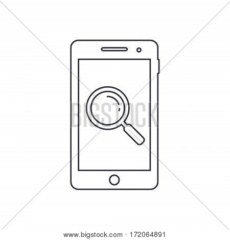 Smartphone outline icon with loupe search sign. Vector design template.