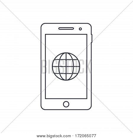 Smartphone outline icon with internet sign. Vector design template.