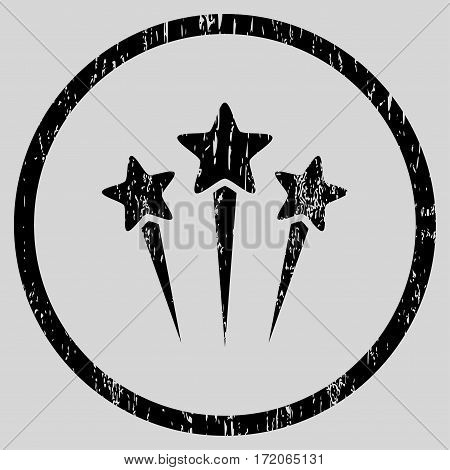 Star Salute grainy textured icon for overlay watermark stamps. Rounded flat vector symbol with unclean texture. Circled black ink rubber seal stamp with grunge design on a light gray background.