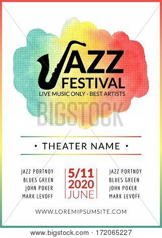 Jazz festival vector background poster. Flyer design music template. Musical festival event flyer.