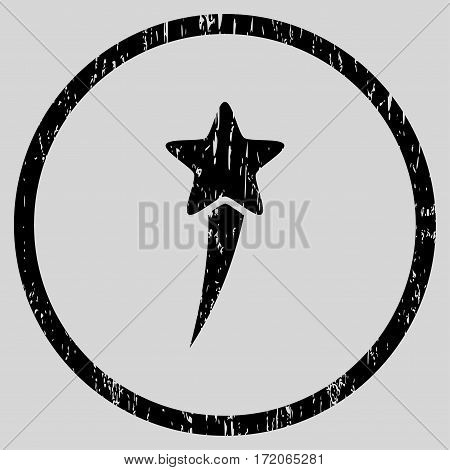 Starting Star grainy textured icon for overlay watermark stamps. Rounded flat vector symbol with scratched texture. Circled black ink rubber seal stamp with grunge design on a light gray background.