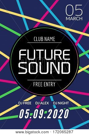Future sound music party template, dance party flyer, brochure. Night party club creative banner or poster with DJ.