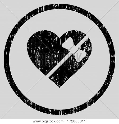 Tied Love Heart grainy textured icon for overlay watermark stamps. Rounded flat vector symbol with scratched texture. Circled black ink rubber seal stamp with grunge design on a light gray background.