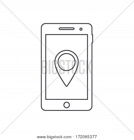 Smartphone outline icon with map pointer navigation symbol. Vector design template.