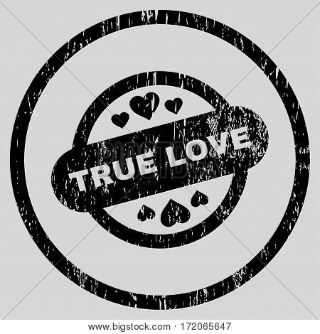 True Love Stamp Seal grainy textured icon for overlay watermark stamps. Rounded flat vector symbol with unclean texture.