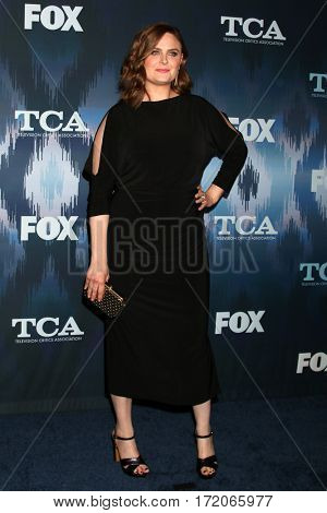 LOS ANGELES - JAN 11:  Emily Deschanel at the FOXTV TCA Winter 2017 All-Star Party at Langham Hotel on January 11, 2017 in Pasadena, CA