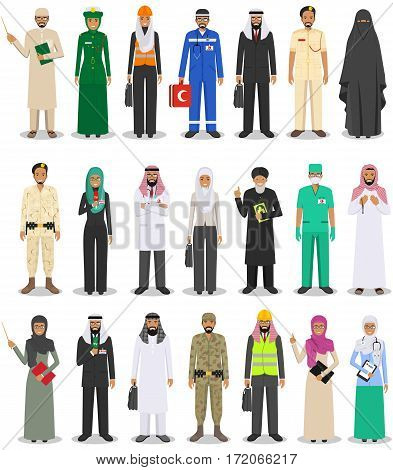 People occupation characters set in flat style isolated on white background. Flat vector icons on white background.