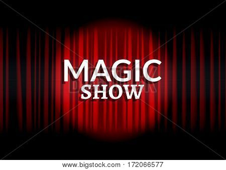 Red curtain with circle light. Magic show concept poster template design.